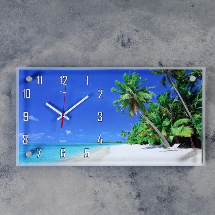 "Часы настенные прямоугольные ""Пальмы"", 26х52 см микс"