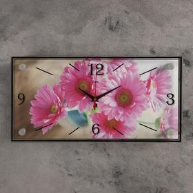 "Часы настенные, серия: Цветы, ""Розовые цветы"", 19х39  см, микс"