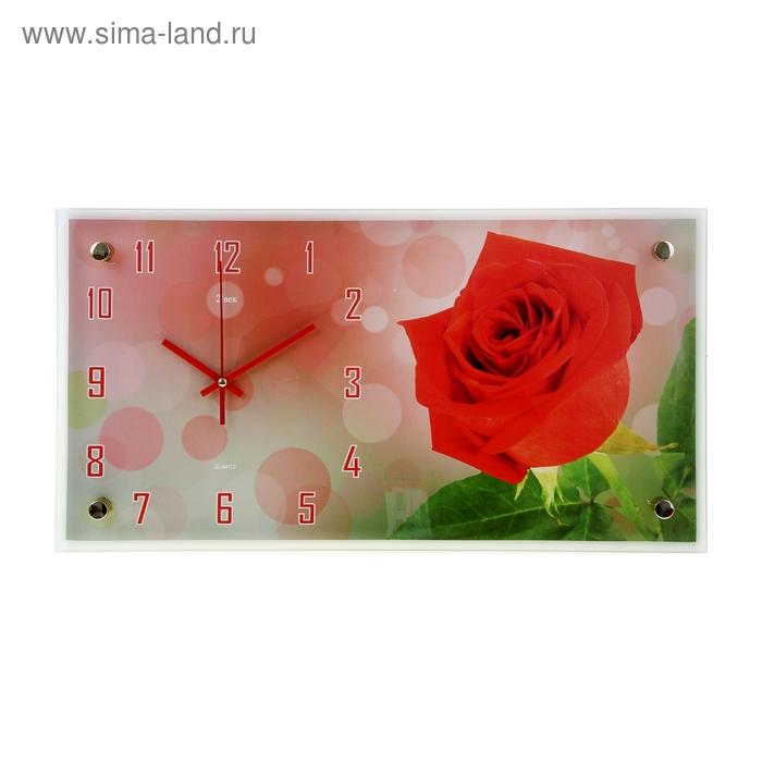 "Часы настенные прямоугольные ""Роза"", 26х52 см"