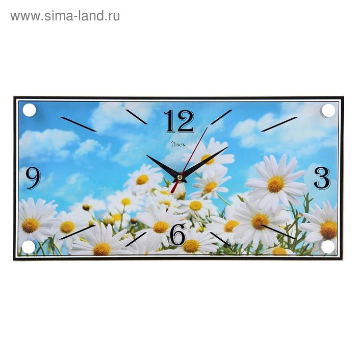 """Часы настенные прямоугольные """"Ромашки"""", 19х39 см"""
