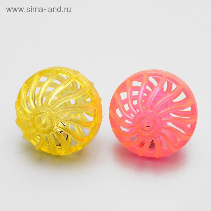 """Набор из 2 пластиковых шариков с бубенчиком """"Завитушки"""", 4 см, микс цветов"""
