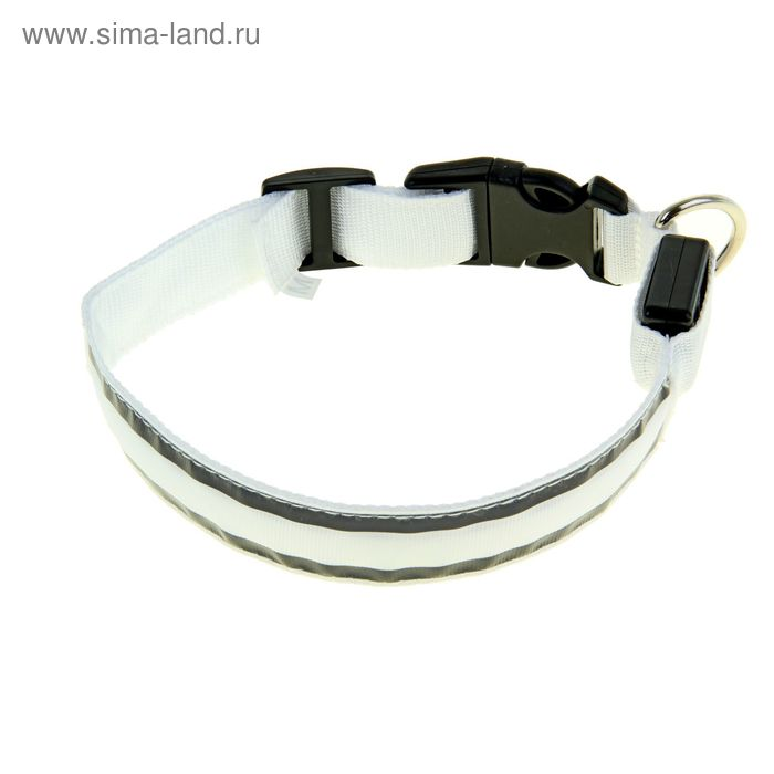 Ошейник с подсветкой и 2 светоотражающими полосами, 40-45 см, 3 режима свечения, белый