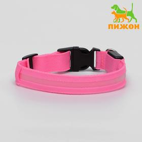 A collar with lights, 40-45 cm, 3 modes glow, pink