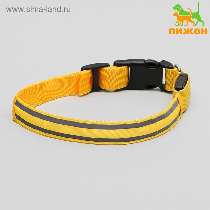 Ошейник с подсветкой и 2 светоотражающими полосами, 45-50 см, 3 режима свечения, желтый