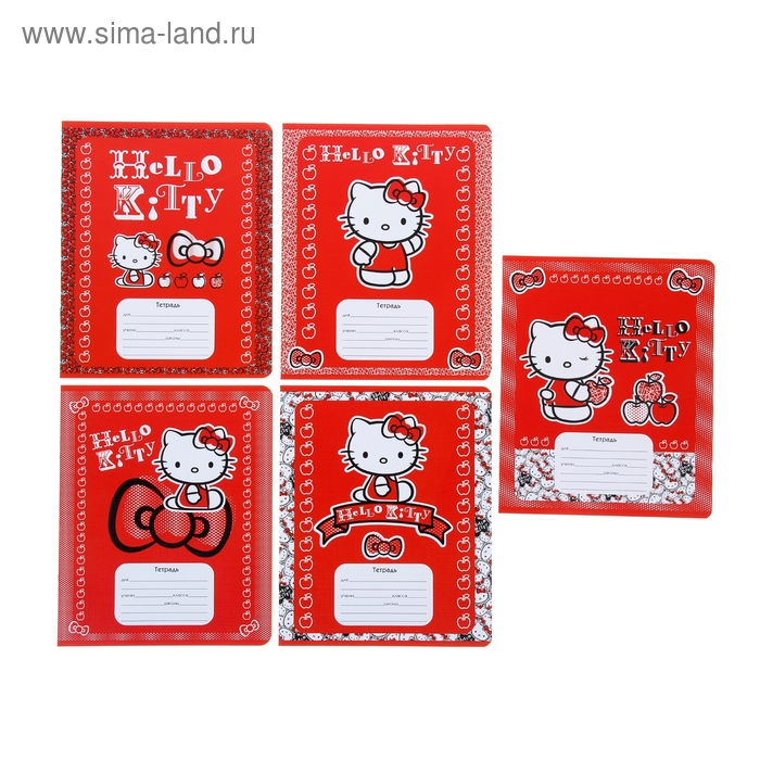 Тетрадь 12 листов клетка Hello Kitty-36, картонная обложка, лён, 5 видов МИКС