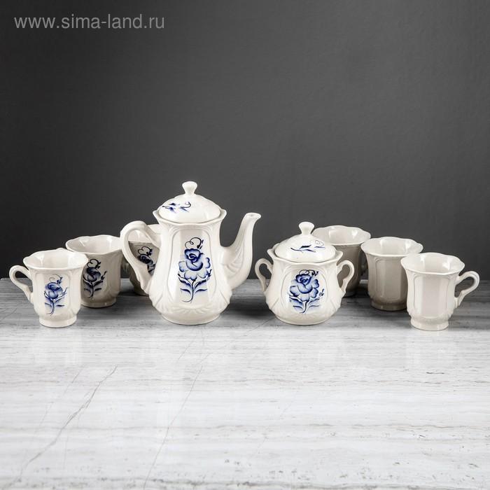 """Чайный сервиз """"Ажур"""" гжель, цветы, 8 предметов: сахарница, чайник 1 л, 6 кружек 0,22 л"""