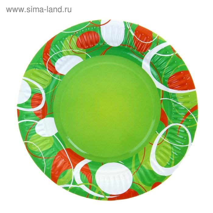 """Тарелка с ламинацией """"Зеленое настроение"""", 18 см"""