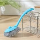 """Губка для мытья посуды """"Бублик"""" с длинной ручкой 15 гр, цвет МИКС"""