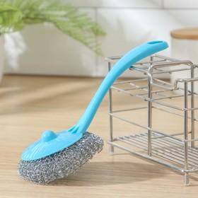 """Губка для мытья посуды с ручкой """"Бублик"""", цвет МИКС"""