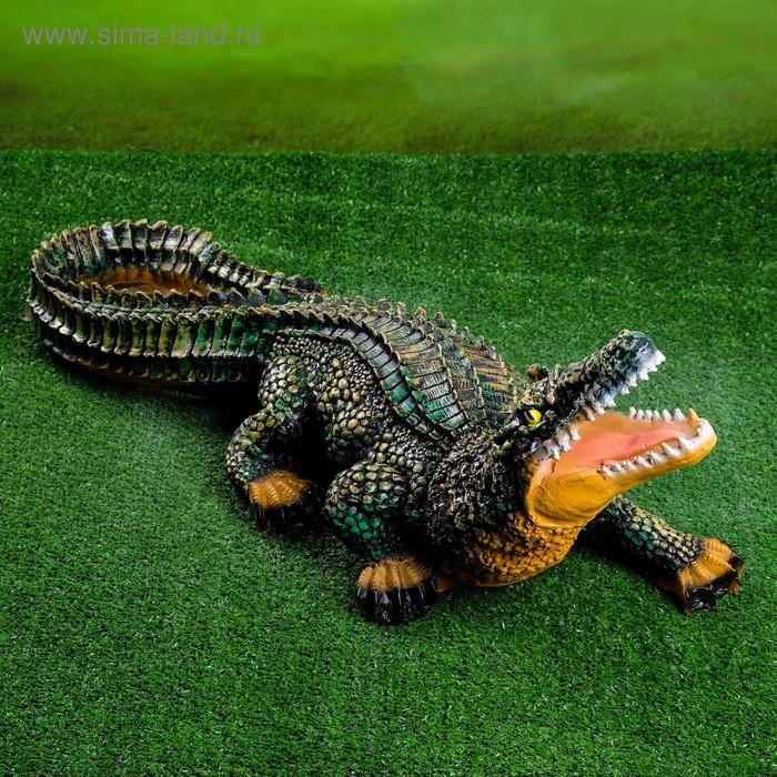 """Садовая фигура """"Крокодил"""" цветная"""