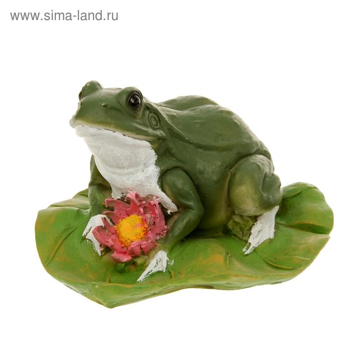 """Садовая фигура """"Лягушка с цветком на листе"""" средняя"""