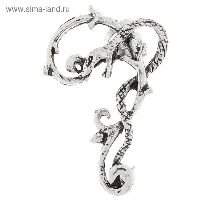 "Серьга ""Каффа"" змей, цвет серебро"