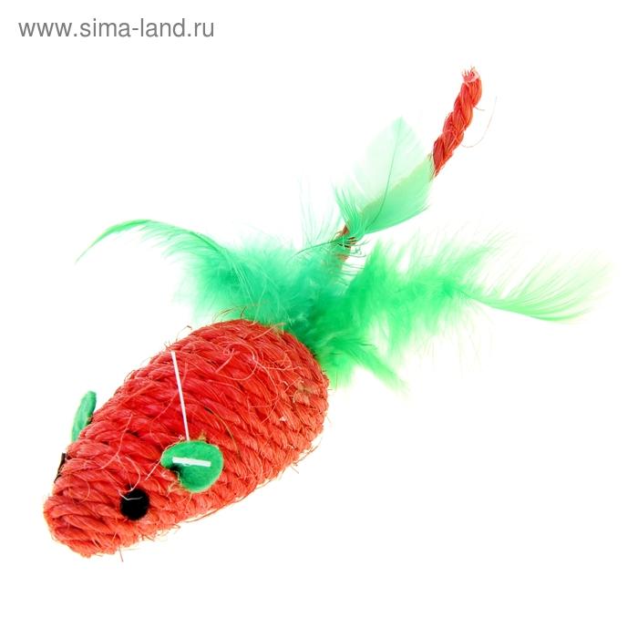 Мышь-погремушка сизалевая с перьями, 6,5 см, микс цветов