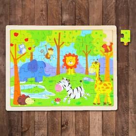 Пазл в деревянной рамке «Зоопарк», 60 элементов: 3,5 × 2,5 см