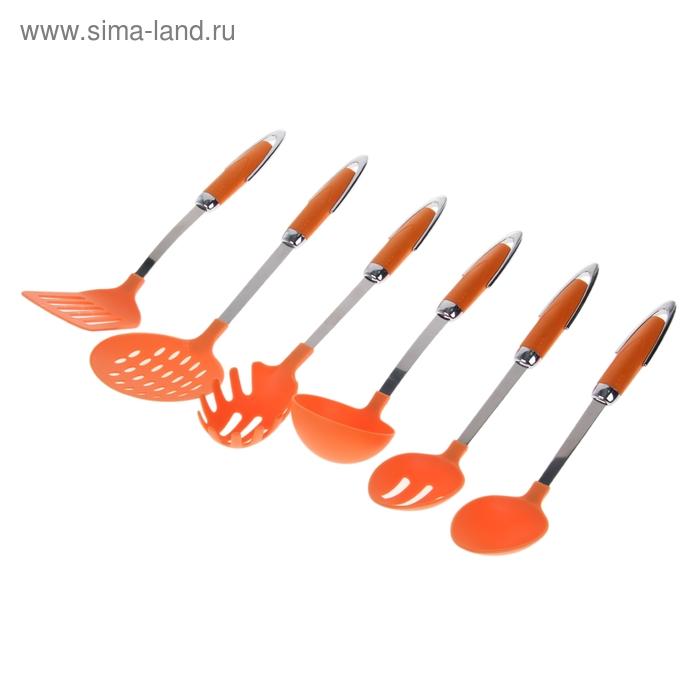 """Набор кухонных принадлежностей в подставке 6 шт """"Ирия"""", оранжевый"""