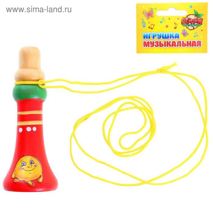 """Игрушка музыкальная дудочка на веревочке """"Колобок"""" 9 см"""