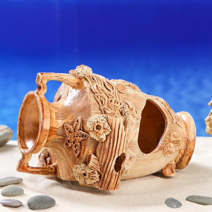 "Декорация для аквариума ""Амфора с морской звездой"", 15 х 20 х 13 см"