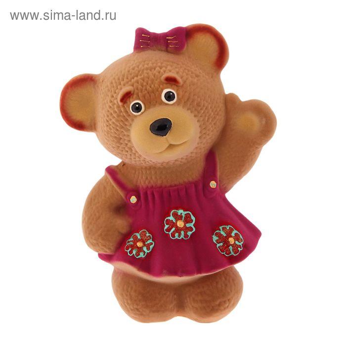 """Копилка """"Медведица в платье"""" флок, бежевая, микс"""