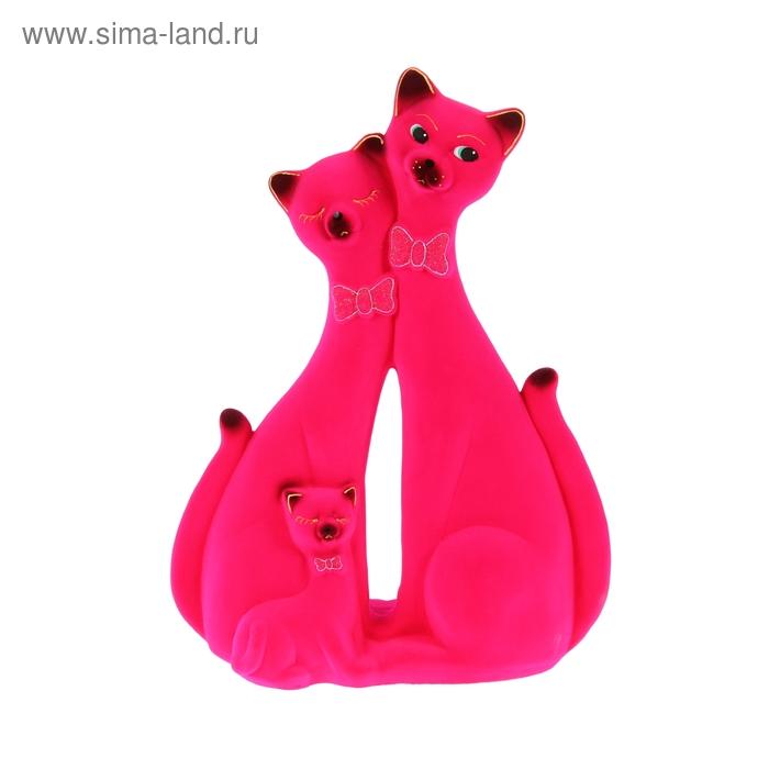 """Копилка """"Коты с котёнком"""" розовая"""