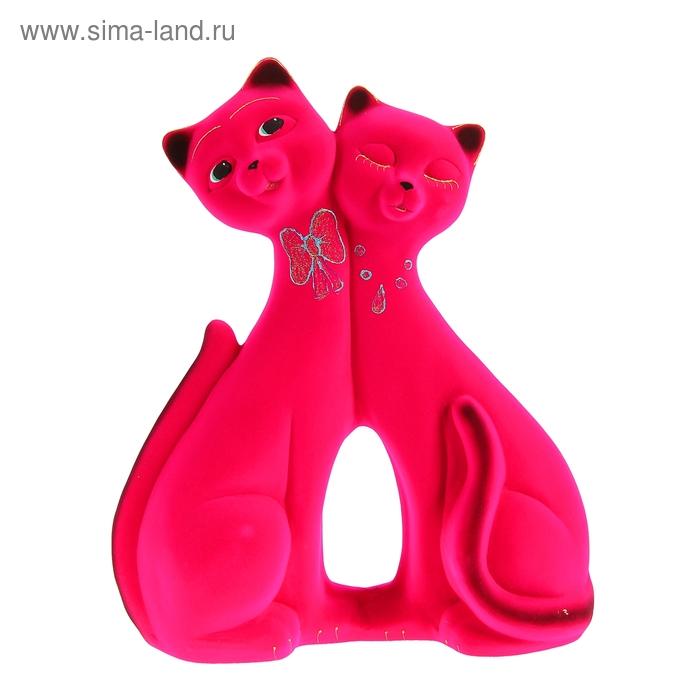 """Копилка """"Коты"""" пара, фантазия, флок, розовая"""