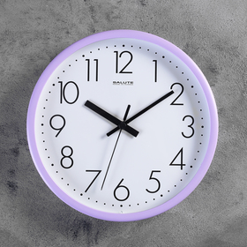 "Часы настенные круглые ""Бюрократ"", d=29 см, циферблат белый, рама сиреневая"