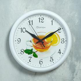 """Часы настенные, серия: Кухня, """"Чай"""", белый обод, 24х24 см"""