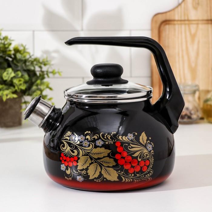 Чайник со свистком «Рябина», 2 л , фиксированная ручка - фото 1600679