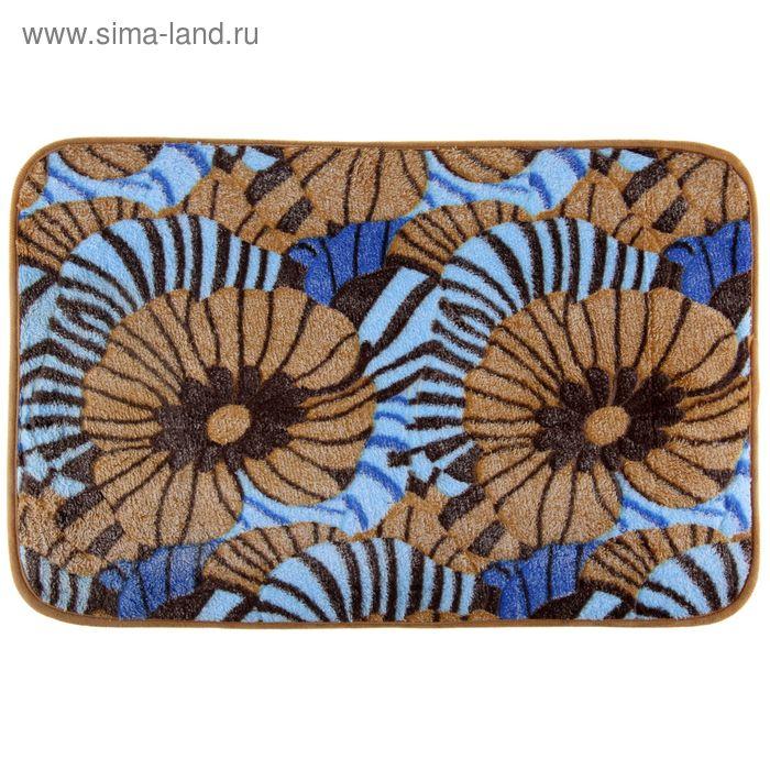 """Коврик для ванной 40х60 см """"Цветы"""", цвет синий"""