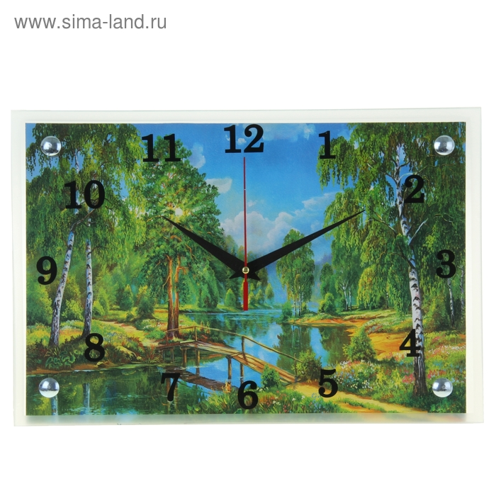 """Часы настенные прямоугольные """"Мостик через реку"""", 25х35 см"""