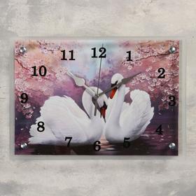 """Часы настенные, серия: Животный мир, """"Лебеди"""", 25 х35  см, микс"""