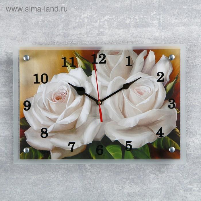 "Часы настенные прямоугольные ""Цветы"", микс 25х35 см"