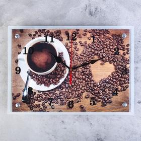 """Часы настенные, серия: Кухня, """"Чашка кофе"""", 25х35  см, микс"""
