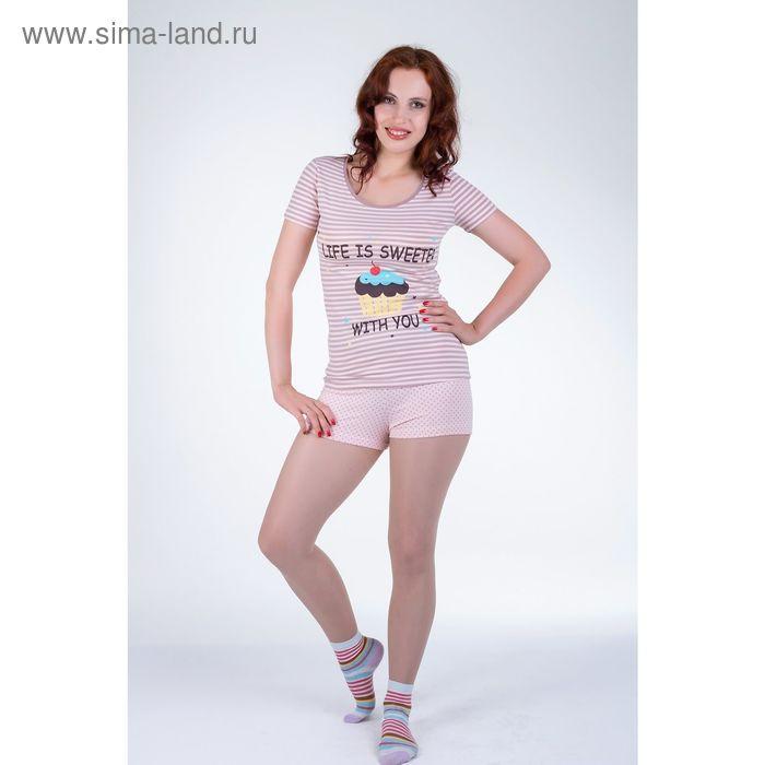 Комплект женский (футболка, шорты) 14С265 П52 р-р 46 МИКС