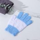 Мочалка-перчатка массажная полосатая, 18х14 см, цвет МИКС