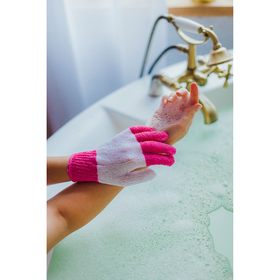 Мочалка-перчатка массажная полосатая, цвет МИКС
