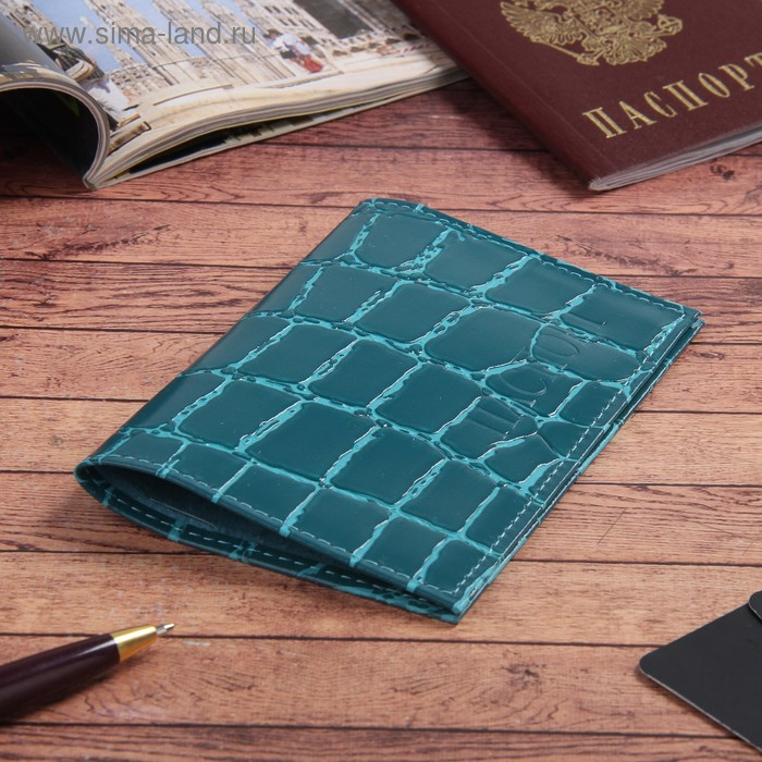 Обложка для паспорта, бирюзовый скат
