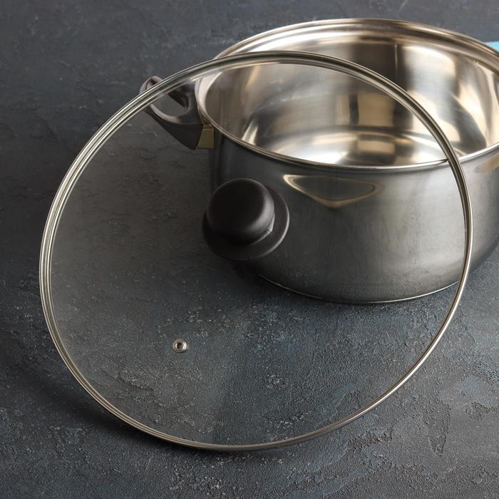 Крышка для сковороды и кастрюли стеклянная TimA, d=30 см, с металлическим ободом, с прикручивающейся ручкой и держателем - фото 797648798