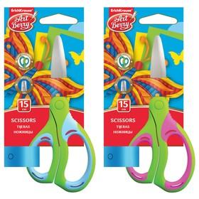 Ножницы детские 15 см, Combi, ручки с резиновыми вставками, с закруглёнными концами лезвий, МИКС