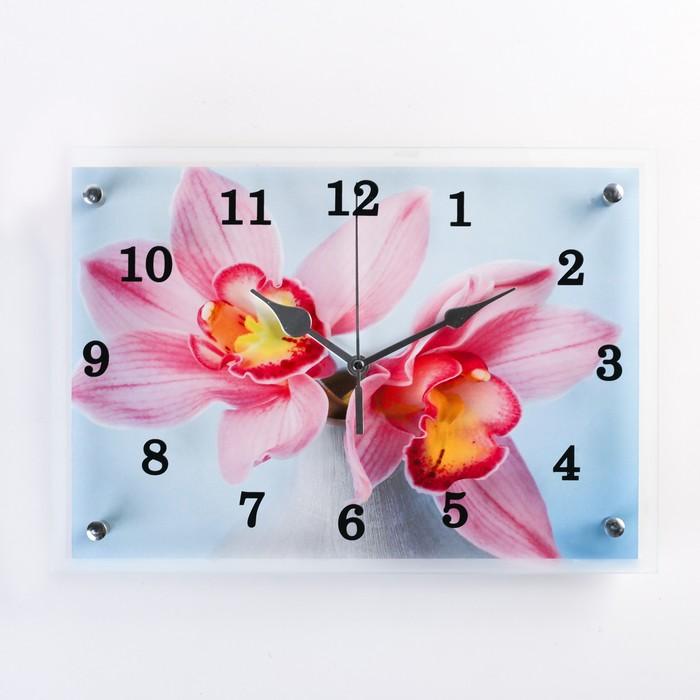 """Часы настенные прямоугольные """"Цветы в вазе"""", 25х35 см микс"""