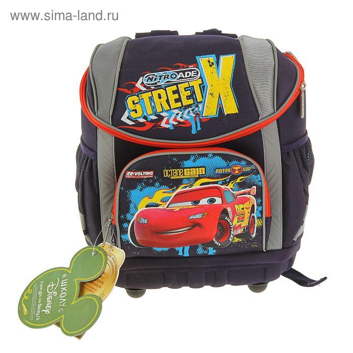 Ранец на молнии Disney Cars 36*30*18, эргономичная спинка, универсальный, серо-красный