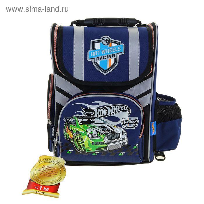 Ранец стандарт Hot Wheels 35*26,5*13 эргономичная спинка, мал, синий