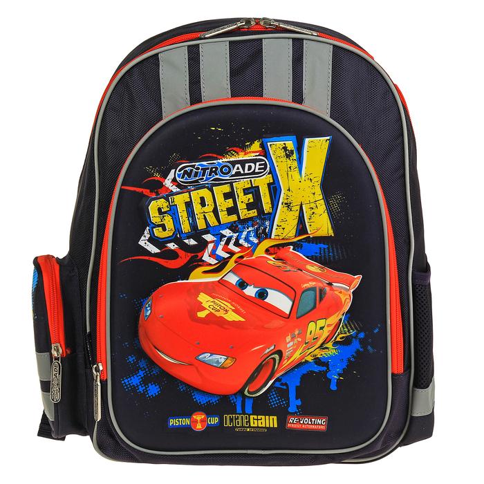 Рюкзак школьный эргономичная спинка Disney Cars 38*29*13, для мальчика, синий