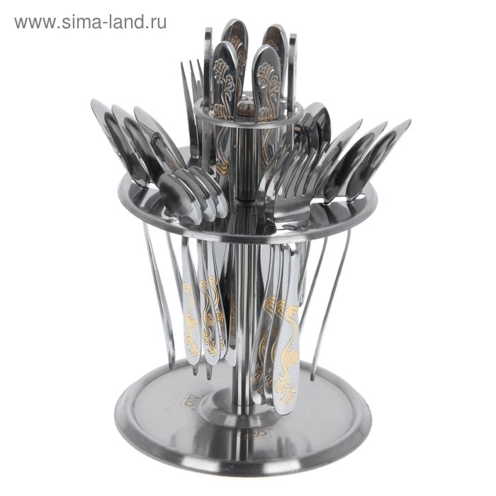 """Набор столовых приборов на крутящейся подставке 24 предмета """"Комильфо"""""""