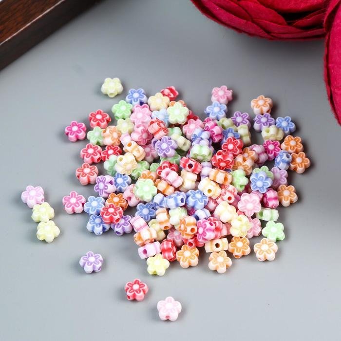 "Набор бусин декоративных пластик ""Цветочки"" (набор 150 шт) 0,6х0,6 см - фото 414460"