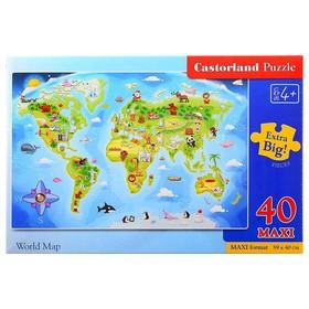 Пазлы «Карта мира», 40 элементов