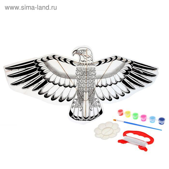 """Воздушный змей-раскраска """"Орёл"""", краски 6 цветов по 6 мл, кисточка, веревка 5 м"""