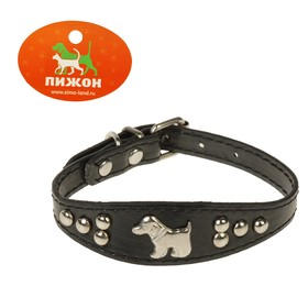 Collar-herring with the puppy, 31 x2,5 cm, artificial leather, black