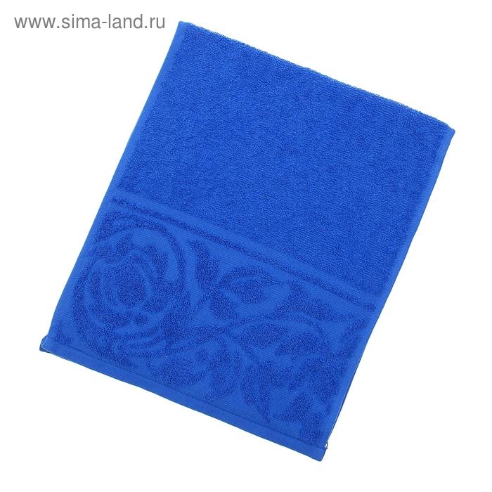 """Полотенце махровое """"Цветок"""", размер 30х70 см, 300 гр/м2, цвет синий"""