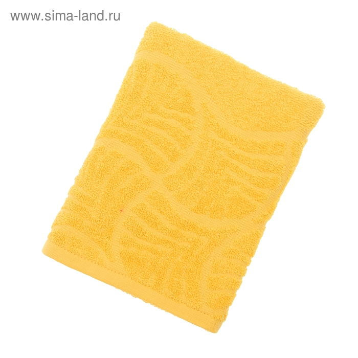 "Полотенце махровое ""Волна"", размер 50х90 см, 300 гр/м2, цвет желтый"