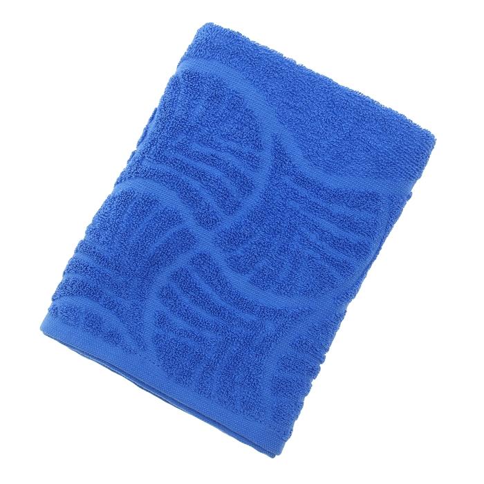 """Полотенце махровое """"Волна"""", размер 50х90 см, 300 гр/м2, цвет синий"""